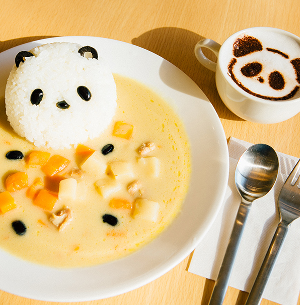Panda Curry and Panda Latte at the Ueno Green Salon